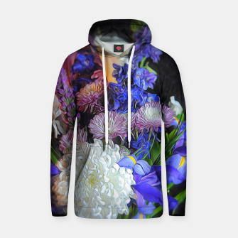 Blue White Purple Floral Hoodie thumbnail image