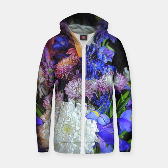 Miniature de image de Blue White Purple Floral Zip up hoodie, Live Heroes
