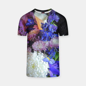 Blue White Purple Floral T-shirt thumbnail image