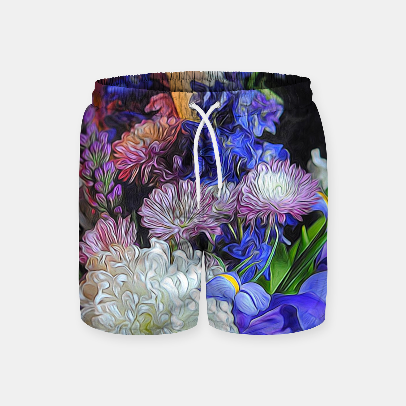 Image of Blue White Purple Floral Swim Shorts - Live Heroes
