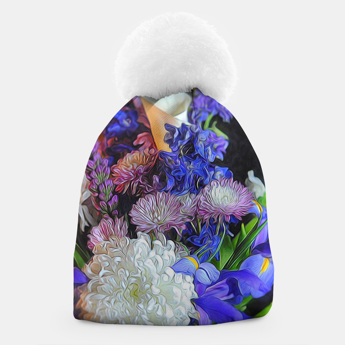 Image of Blue White Purple Floral Beanie - Live Heroes