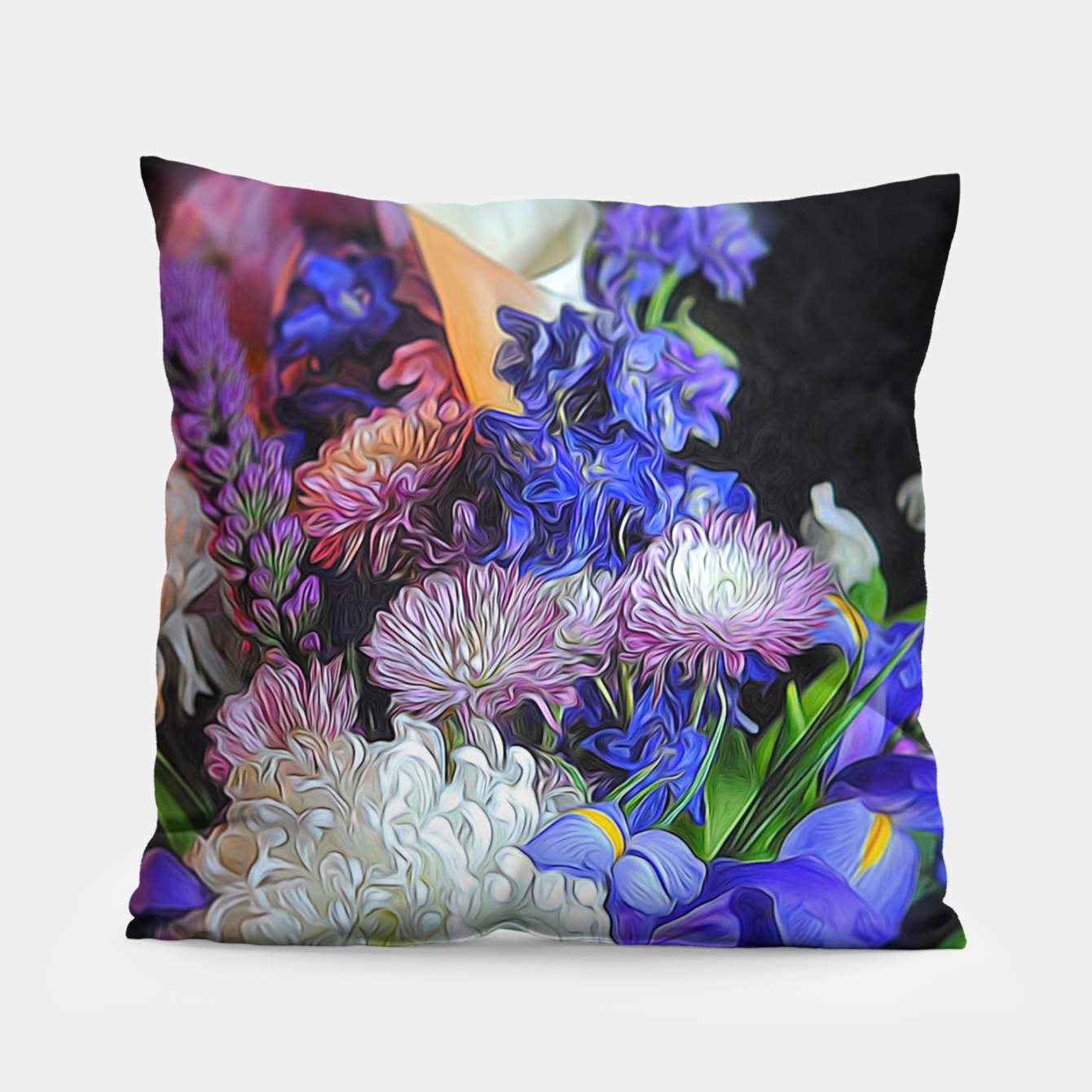 Image of Blue White Purple Floral Pillow - Live Heroes