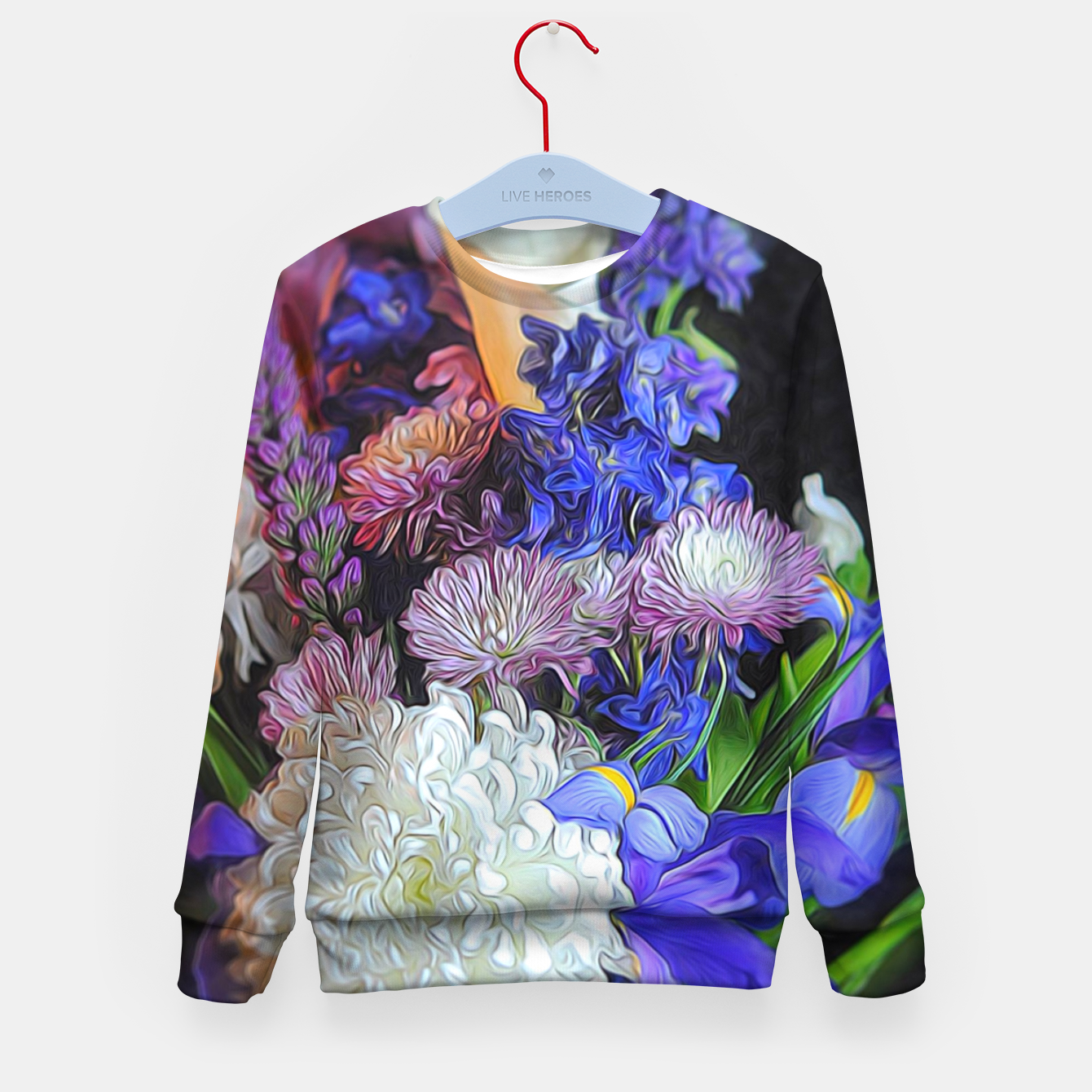 Image of Blue White Purple Floral Kid's sweater - Live Heroes