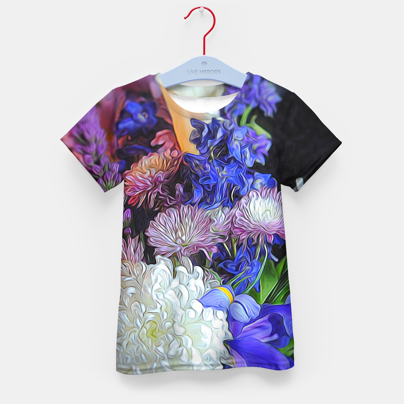 Image of Blue White Purple Floral Kid's t-shirt - Live Heroes