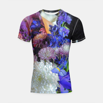 Thumbnail image of Blue White Purple Floral Shortsleeve rashguard, Live Heroes