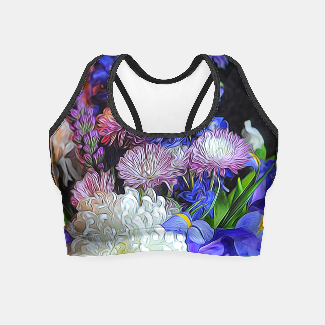 Image of Blue White Purple Floral Crop Top - Live Heroes
