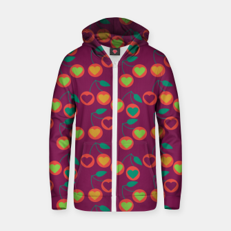 Miniature de image de heart cherries magenta Zip up hoodie, Live Heroes