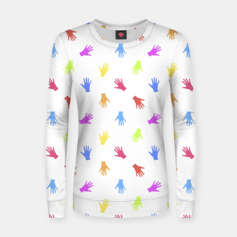 Thumbnail image of Multicolored Hands Silhouette Motif Design Women sweater, Live Heroes