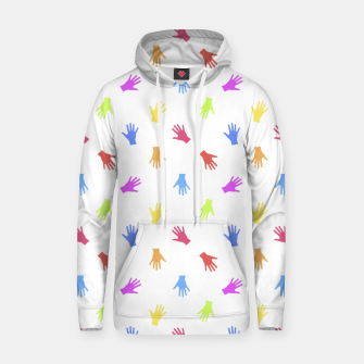 Thumbnail image of Multicolored Hands Silhouette Motif Design Hoodie, Live Heroes