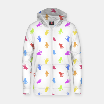 Thumbnail image of Multicolored Hands Silhouette Motif Design Zip up hoodie, Live Heroes
