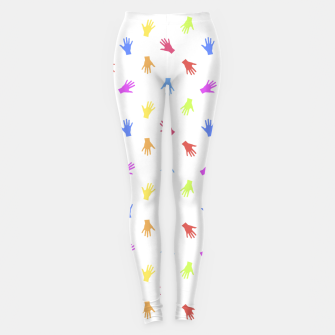 Thumbnail image of Multicolored Hands Silhouette Motif Design Leggings, Live Heroes