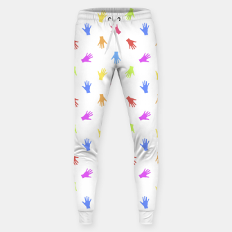Thumbnail image of Multicolored Hands Silhouette Motif Design Sweatpants, Live Heroes