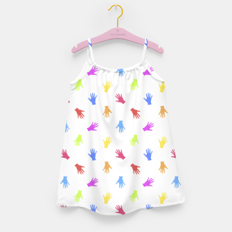 Miniatur Multicolored Hands Silhouette Motif Design Girl's dress, Live Heroes