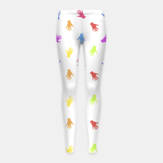 Thumbnail image of Multicolored Hands Silhouette Motif Design Girl's leggings, Live Heroes