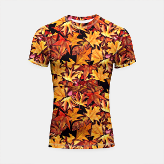 Thumbnail image of Fall Leaves Pattern Shortsleeve rashguard, Live Heroes