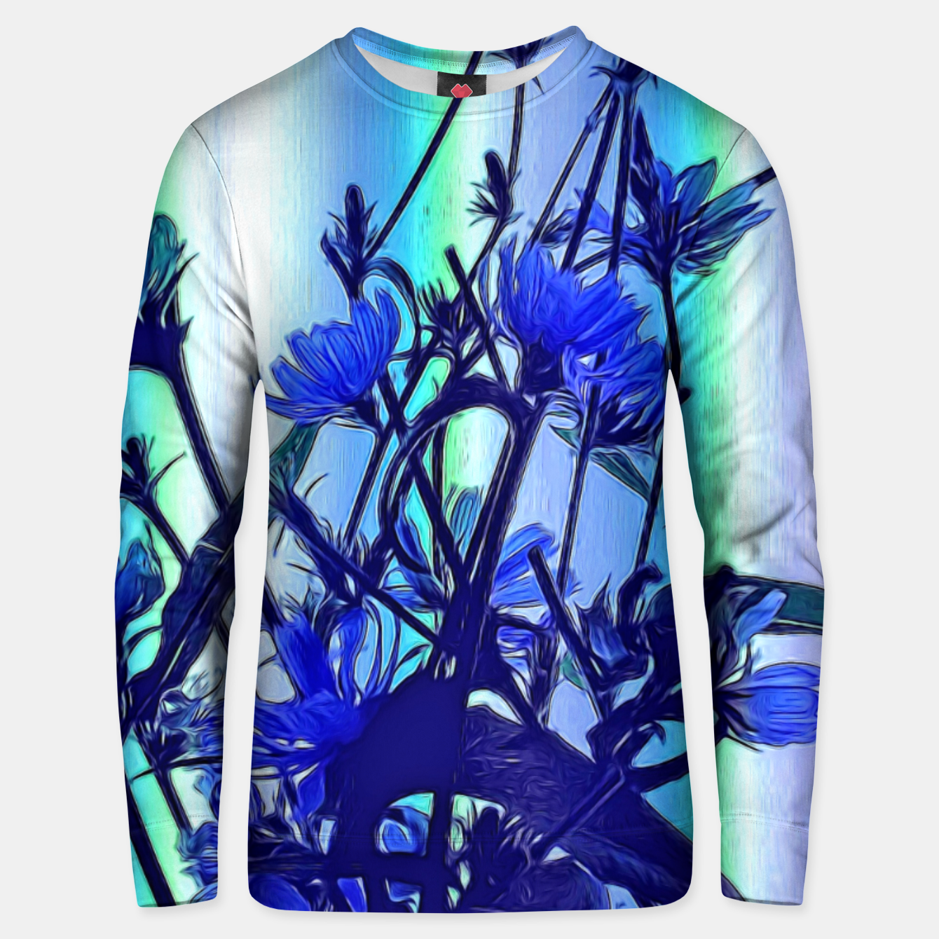 Image of Blue Wildflowers With Backlight Unisex sweater - Live Heroes