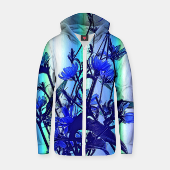 Blue Wildflowers With Backlight Zip up hoodie thumbnail image