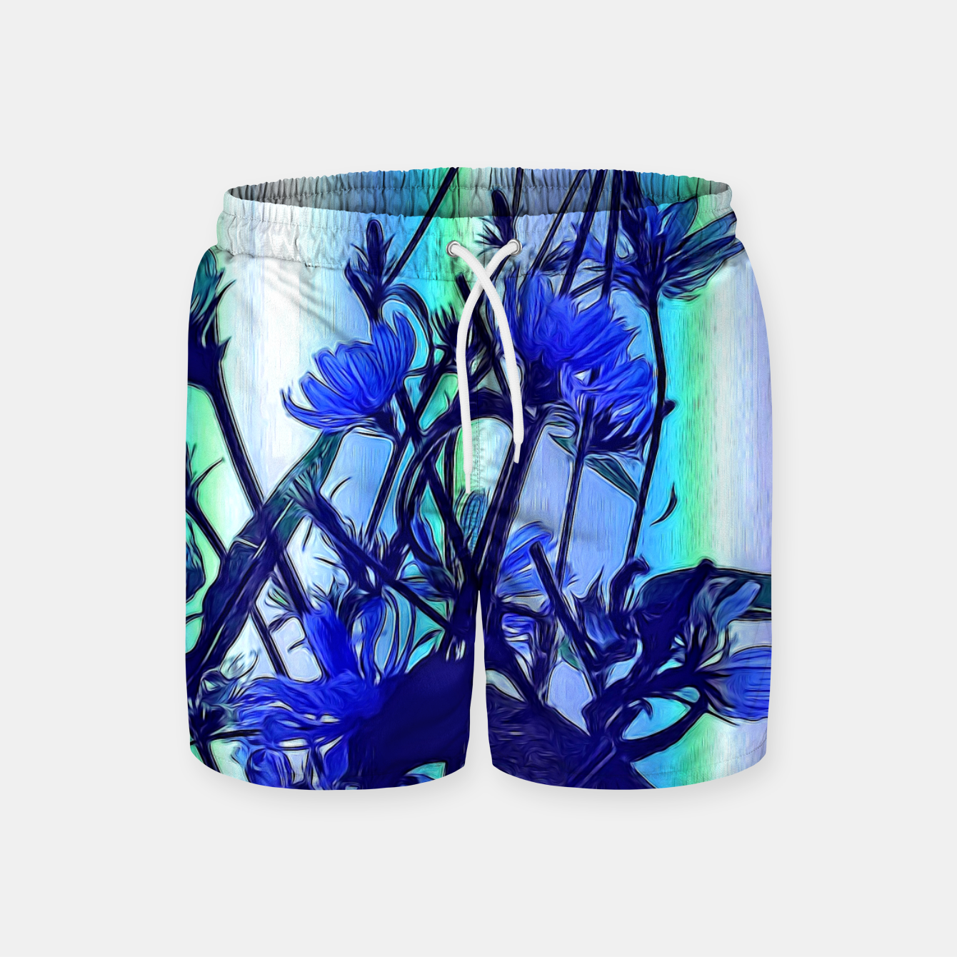 Image of Blue Wildflowers With Backlight Swim Shorts - Live Heroes