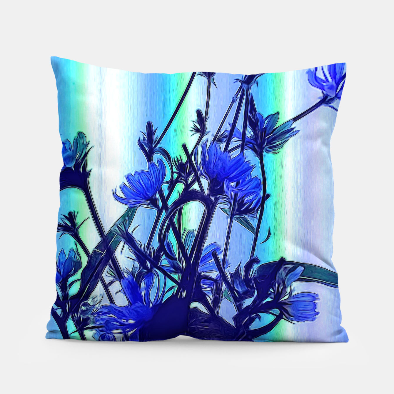 Image of Blue Wildflowers With Backlight Pillow - Live Heroes