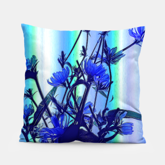 Blue Wildflowers With Backlight Pillow thumbnail image