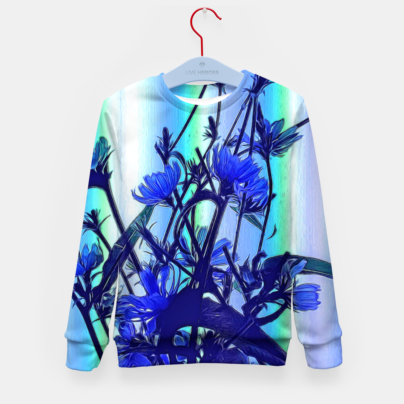 Image of Blue Wildflowers With Backlight Kid's sweater - Live Heroes