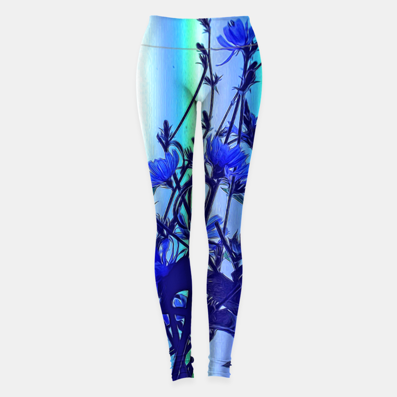 Image of Blue Wildflowers With Backlight Leggings - Live Heroes