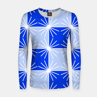 Thumbnail image of Abstract geometric pattern - blue and white. Women sweater, Live Heroes