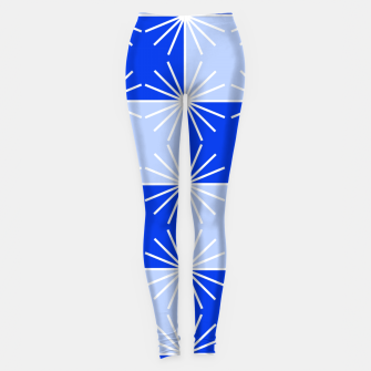 Thumbnail image of Abstract geometric pattern - blue and white. Leggings, Live Heroes