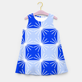 Thumbnail image of Abstract geometric pattern - blue and white. Girl's summer dress, Live Heroes