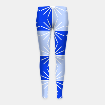 Thumbnail image of Abstract geometric pattern - blue and white. Girl's leggings, Live Heroes