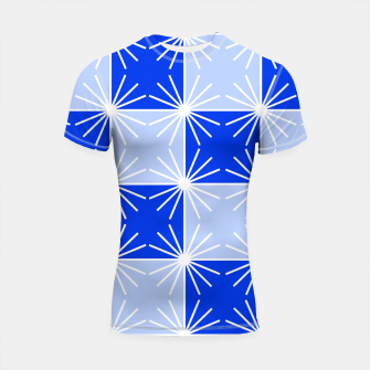 Imagen en miniatura de Abstract geometric pattern - blue and white. Shortsleeve rashguard, Live Heroes