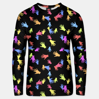 Multicolored Hands Silhouette Motif Design Unisex sweater obraz miniatury