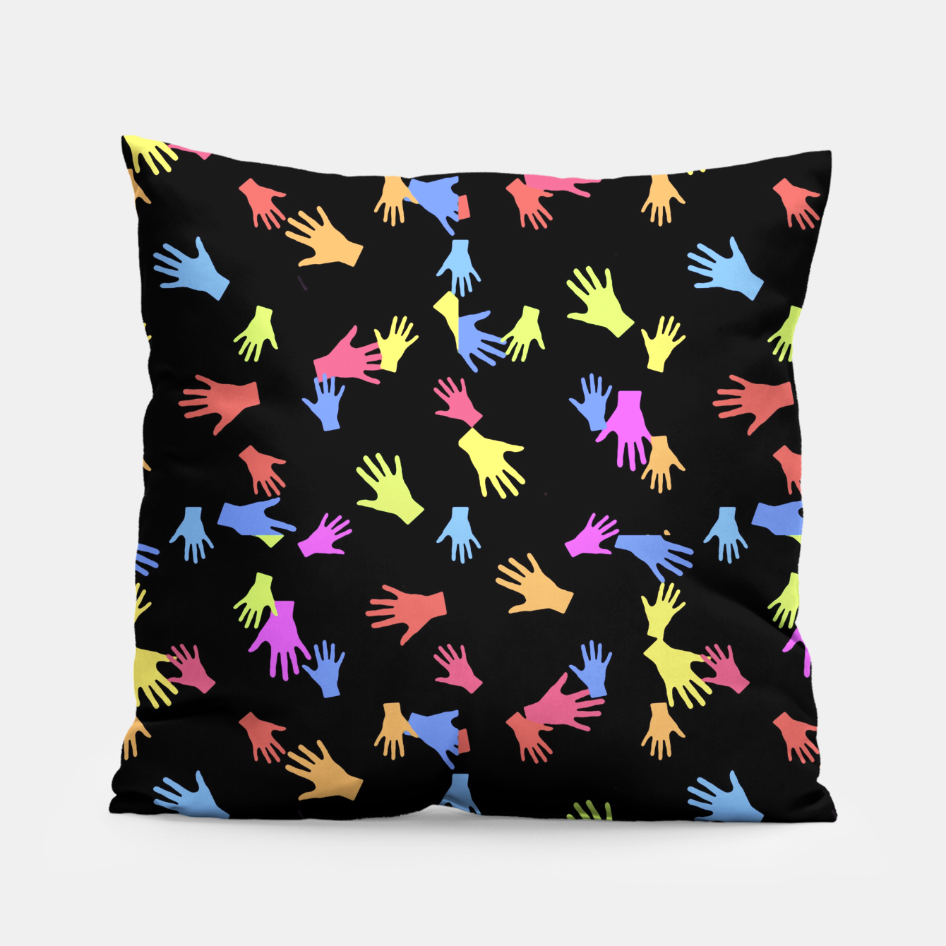 Zdjęcie Multicolored Hands Silhouette Motif Design Pillow - Live Heroes