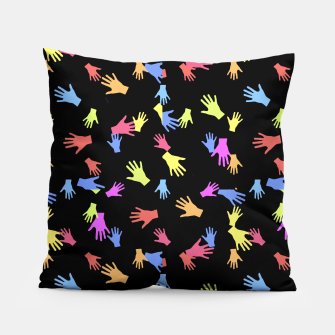 Thumbnail image of Multicolored Hands Silhouette Motif Design Pillow, Live Heroes