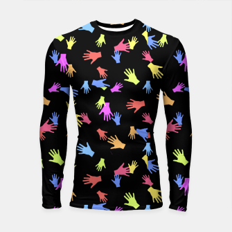 Thumbnail image of Multicolored Hands Silhouette Motif Design Longsleeve rashguard , Live Heroes