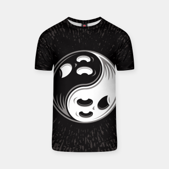 Miniatur Ghost Yin Yang Black and White T-shirt, Live Heroes