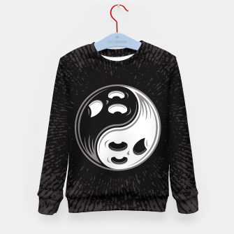 Miniatur Ghost Yin Yang Black and White Kid's sweater, Live Heroes
