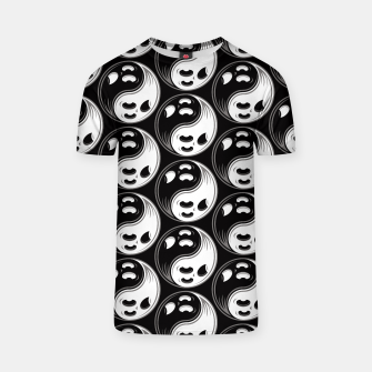 Miniatur Ghost Yin Yang Black and White Pattern T-shirt, Live Heroes