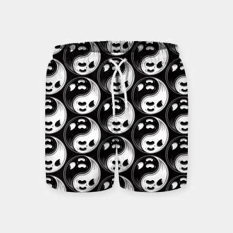 Miniatur Ghost Yin Yang Black and White Pattern Swim Shorts, Live Heroes