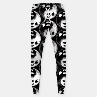 Miniatur Ghost Yin Yang Black and White Pattern Sweatpants, Live Heroes