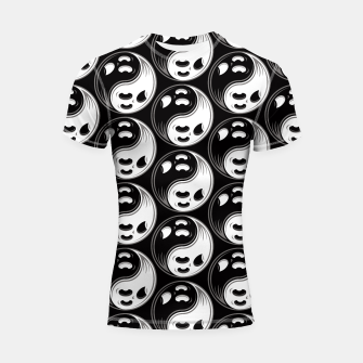 Miniatur Ghost Yin Yang Black and White Pattern Shortsleeve rashguard, Live Heroes