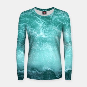 Thumbnail image of green ocean splash Women sweater, Live Heroes