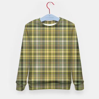 Thumbnail image of yellow plaid Kid's sweater, Live Heroes