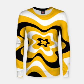 Thumbnail image of Abstract pattern - orange, black and white. Women sweater, Live Heroes