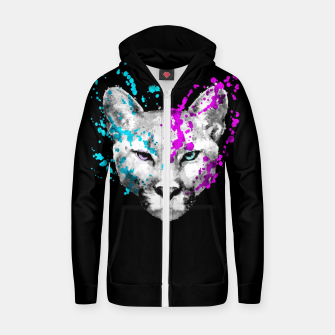 Imagen en miniatura de Watercolor watercolour cougar mountain lion animal wildlife Zip up hoodie, Live Heroes