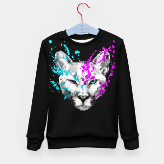 Imagen en miniatura de Watercolor watercolour cougar mountain lion animal wildlife Kid's sweater, Live Heroes