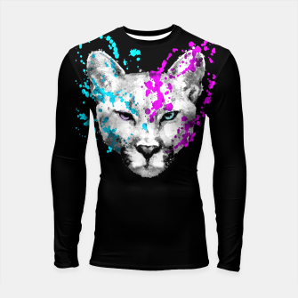 Miniaturka Watercolor watercolour cougar mountain lion animal wildlife Longsleeve rashguard , Live Heroes