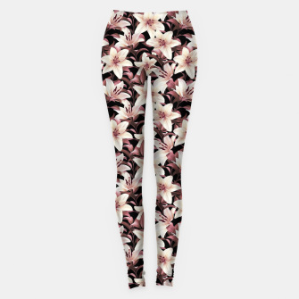 Thumbnail image of Lilies on black Leggings, Live Heroes