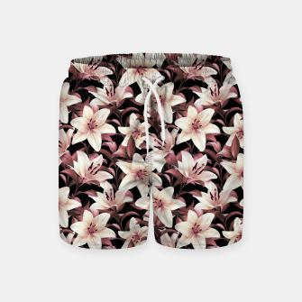 Thumbnail image of Lilies on black Swim Shorts, Live Heroes