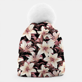 Thumbnail image of Lilies on black Beanie, Live Heroes